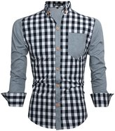 uxcell Allegra K Men Yarn-Dyed Plaids Button Down Shirt