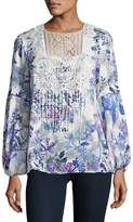 T Tahari Women's Crochet-Accented Floral Top - White Multi, Size x-small