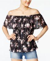 Ultra Flirt Juniors' Floral-Print Off-The-Shoulder Top