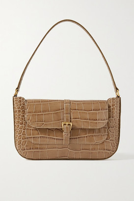 BY FAR Miranda Croc-effect Leather Shoulder Bag - Taupe