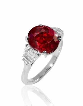 Fred Leighton Oval Burma Ruby and Diamond Ring