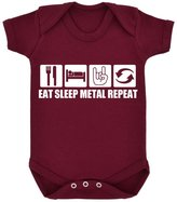 1StopShops Funny Eat Sleep Metal Repeat Design Baby Bodysuit with White Print