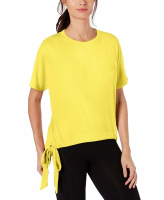 Ideology Womens Yellow Tie Patterned Short Sleeve V Neck T-Shirt Top Size: XXL