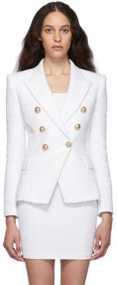 Balmain White Tweed Six Button Blazer