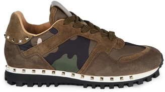 Valentino Studded Suede & Camo Runners