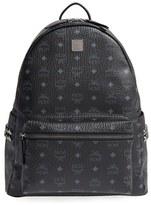 MCM Medium Stark Coated Canvas Backpack - Black