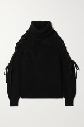 Alice + Olivia Alice Olivia - Lace-up Ribbed Wool-blend Turtleneck Sweater - Black