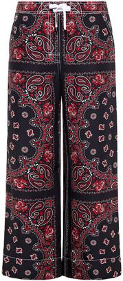 Alexander Wang Printed Silk Crepe De Chine Wide-leg Pants