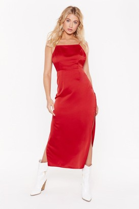 Nasty Gal Womens Square's the Party Satin Midi Dress - Red