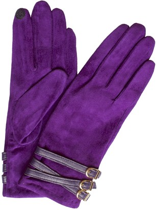 Dents Ladies Smart Hairsheep Suede Leather Touchscreen Gloves with 3-buckle strap detail (Amethyst Small)