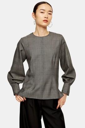 Topshop Womens **Wool Check Blouson Blouse By Monochrome
