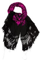Adrienne Landau Embroidered Silk Scarf