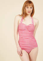 Esther Williams Bathing Beauty One-Piece Swimsuit in Cherry Pie in 20 - Halter by from ModCloth