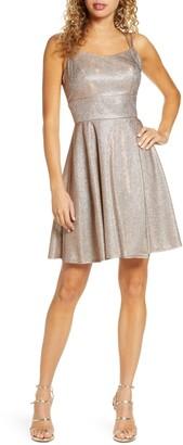 Morgan & Co. Lace-Up Back Metallic Skater Dress