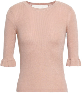 RED Valentino Point D'esprit-trimmed Ribbed Cashmere And Silk-blend Top