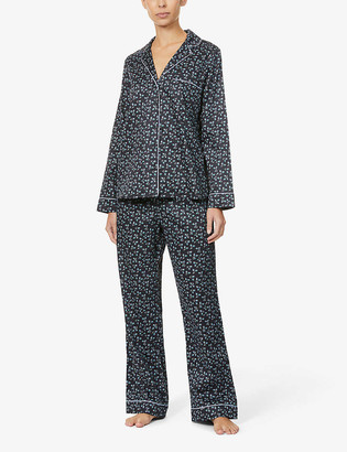 Yolke Classic leaf-print cotton-poplin pyjama set