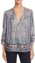 Joie Frazier Floral Border Print Silk Blouse