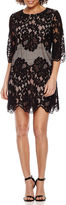 Ronni Nicole 3/4 Sleeve Lace Shift Dress-Petites