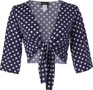 Star Vixen Women's Petite 3/4 Sleeve Tiefront Shrug
