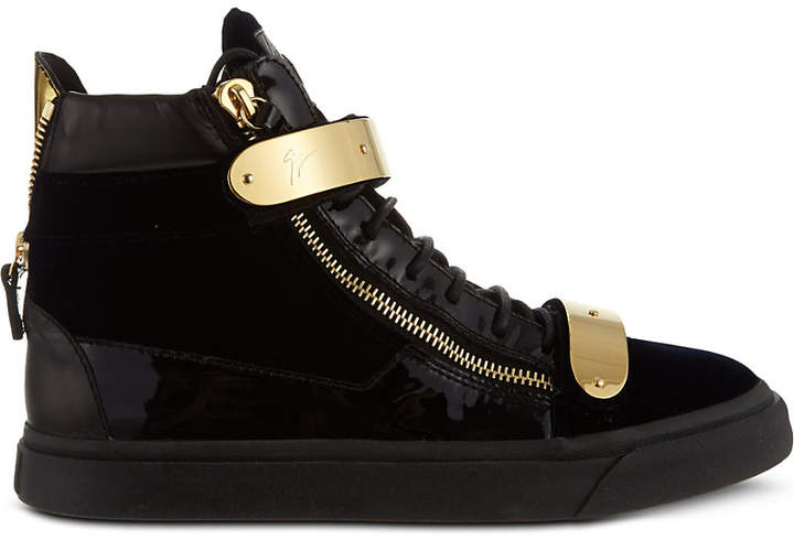 Giuseppe Zanotti Double-bangle velvet high-top trainers