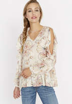 Buffalo David Bitton Floral Ruffle Around Cold Shoulder Top