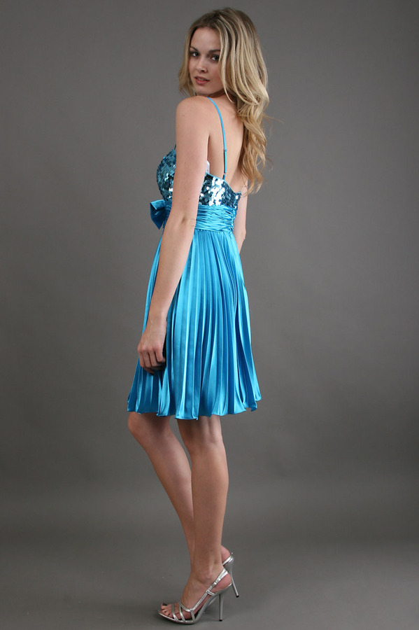 Scala Short Sequined Bust in Turquoise