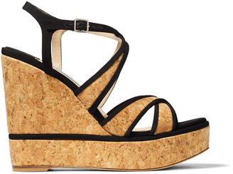 Jimmy Choo ALISSA 120 Black Grosgrain and Natural Cork Wedge Sandals