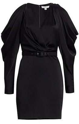 Jonathan Simkhai Cold-Shoulder Faux-Wrap Mini Puff-Sleeve Dress