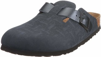 Birkenstock Womens Boston Leather Holiday Slip On Casual Sandals Clogs - Black - 5