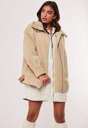 Missguided Stone Faux Fur Oversized Aviator Jacket