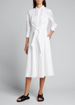 Elie Tahari Ann 3/4-Sleeve Tie-Waist Midi Dress