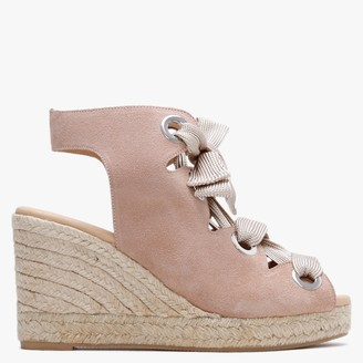 Carmen Saiz Nude Suede High Front Lace Up Wedge Espadrilles