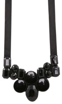 Black Faceted Bead Bib Ribbon Necklace