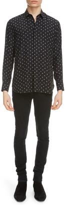 Saint Laurent Anchor Print Long Sleeve Silk Button-Up Shirt