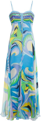 Emilio Pucci Embellished Printed Silk-voile And Crepe De Chine Maxi Dress