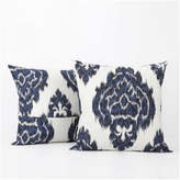 Exclusive Fabrics & Furnishings Ikat Printed Cotton Cushion Cover, Set of 2, Blue