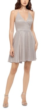 Blondie Nites Juniors' Halter Shiny Dress