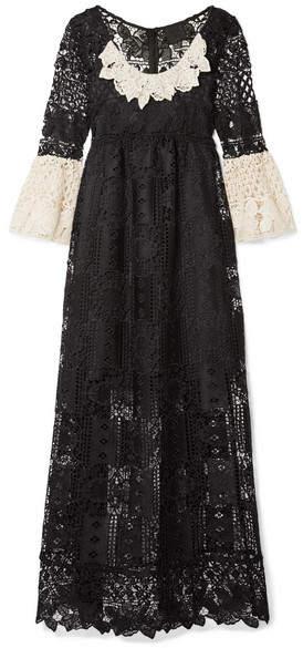 Anna Sui Floral Diamond And Medallion Crocheted Lace Midi Dress - Black