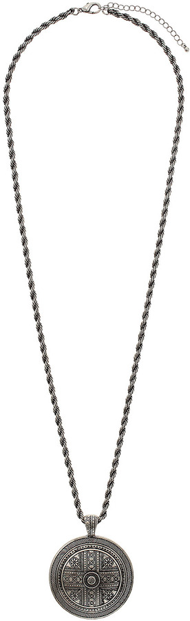 Topshop Engraved disc twisted chain necklace
