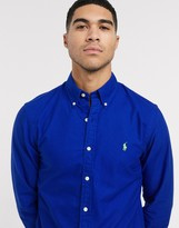 Polo Ralph Lauren slim fit oxford shirt in bright blue garment dye with logo