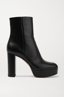 Gianvito Rossi 100 Leather Platform Ankle Boots - Black