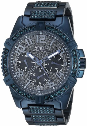 GUESS Stainless Steel Iconic Blue Crystal Embellished Bracelet Watch with Day