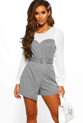 Pink Boutique High End Hun Monochrome Dogtooth Belted Playsuit