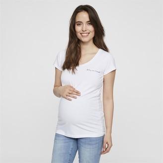Mama Licious Mamalicious Womens Mama Baby On Board T-Shirt White