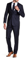 Vince Camuto Navy Pinstripe Two Button Notch Lapel Wool Trim Fit Suit