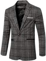 uxcell® Men Notched Lapel Padded Shoulder Checked Slim Fit Blazer