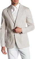 Bonobos Jetsetter Grey Striped Two Button Notch Lapel Cotton Slim Fit Blazer
