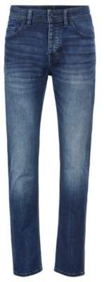 HUGO BOSS - Tapered Fit Jeans In Distressed Super Stretch Denim - Blue