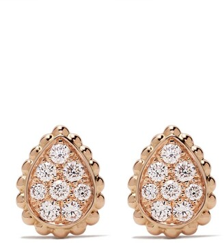 Boucheron 18kt rose gold Serpent Boheme diamonds XS motif stud earrings