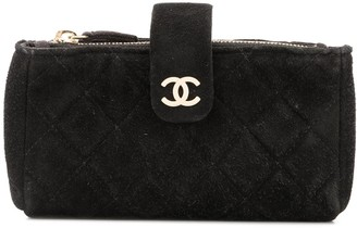 Chanel Pre Owned Diamond Quilted Makeup Bag